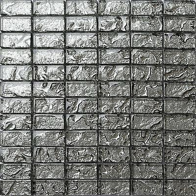 Glass Mosaic Wall Tiles Liquid Lava Silver Brick Bathroom Kitchen Shower 0121