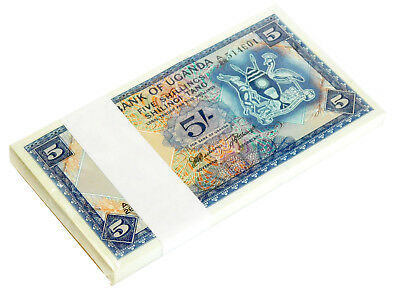 UGANDA 5 SHILLINGS ND 1966 P 1 UNC (BUNDLE of 100 NOTES)