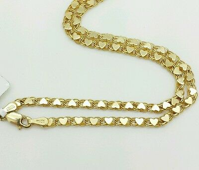 "14k Solid Yellow Gold Heart Link Anklet Chain 10"" 2.9mm Women"