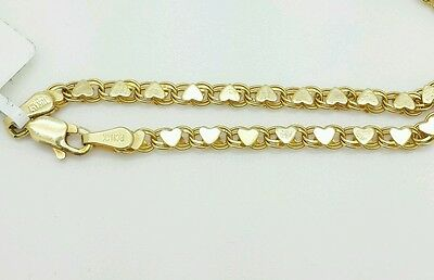 """14k Solid Yellow Gold Heart Link Bracelet Chain 5.5"""" 2.9mm  Baby Girl Child"""