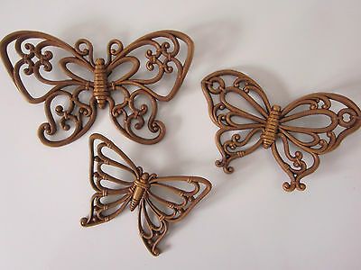 Vintage Syroco/Homco Wall Plaques 3 Butterflies #7537 1978 VG Condition