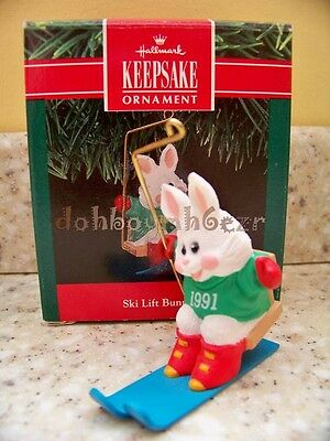 Hallmark 1991 Ski Lift Bunny Rabbit Christmas Ornament