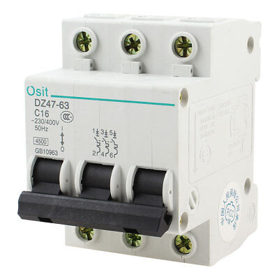 AC 400V 16A 3 Pole DIN Rail On/Off Switch Mini Circuit Breaker 4500A