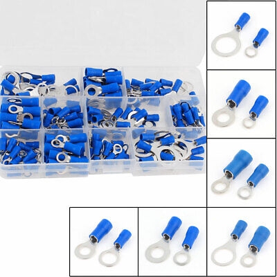165Pcs Insulated Ring Crimp Terminal Assorted Set Electrical Connector Kit Blue