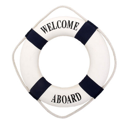 Blue Mediterranean Nautical Wall Decor Boat Ring Life Buoy Preserver 14cm