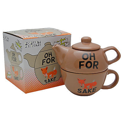 Oh For Fox Sake Teapot. Funny Tea Pot and Cup Set For One Novelty Gift Present