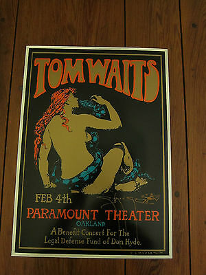 Tom Waits Paramount Theatre Don Hyde Benefit Stanley Mouse Poster Signed 96 L@@k