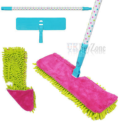 Double Sided Microfibre Mop Cleaner Sweeper Wooden Floor / Cloth Pad Refill