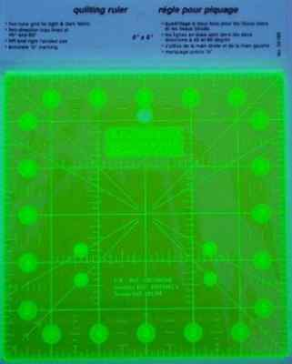 Clear Non Slip Patchwork & Quilting Ruler / Template with Grid 6 inch x 6 inch
