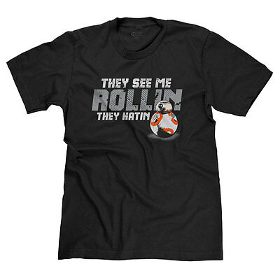 Bb-8 They See Me Rollin They Hatin Funny Star Wars Droid Parody T-Shirt Tee