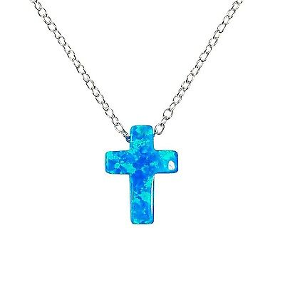 Cross Necklace Opal Pendant 925 Sterling Silver Christian Religious Gift for Her