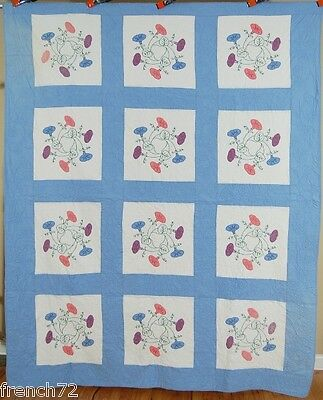 MATCHED PAIR of 30s Vintage Morning Glory Applique Antique Quilts ~NICE QUILTING
