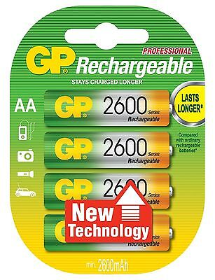 4 x GP RECHARGEABLE AA LR6  BATTERIES 2600mAh Ni-MH PROFESSIONAL SERIES BATTERY