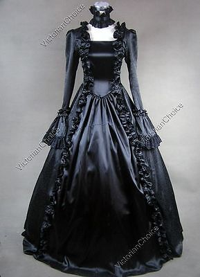 Gothic Renaissance Black Victorian Dress Gown Steampunk Punk Theater Costume 119