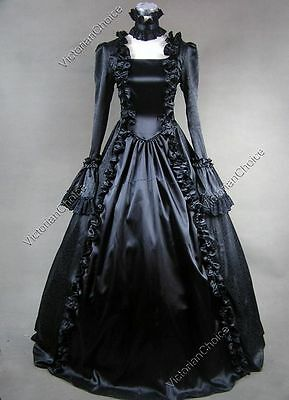Renaissance Victorian Black Witch Enchantress Gown Punk Halloween Costume 119