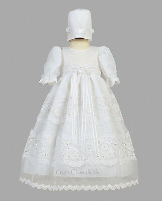 New Baby Girls White Organza 2 Pc Dress Gown Christening Baptism Bonnet Pauline