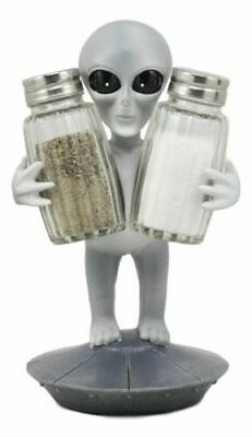 Extra Terrestrial Alien UFO Space Colony Glass Salt and Pepper Shaker Set Decor