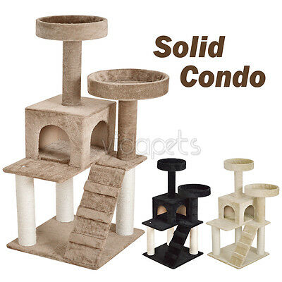 "51"" Almond Black Beige Cat Tree Soild Condo Furniture Scratch Post Play House"
