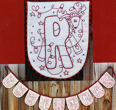 Christmas Bunting - Christmas redwork stitchery PATTERN - includes fabric