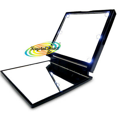 FLO Mirrrors LED Lights Compact Hand Make Up Mirror Black