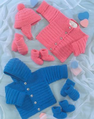 Knitting Pattern Baby Cardigan Hat Mittens Bootees Easy Quick To