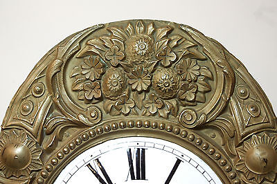 Antique French Comtoise Clock Movement, Bell, Enamel Face, Floral Repoussé (4/61