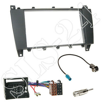 MERCEDES C-Klasse W203 ab2004 Doppel 2-DIN Blende+ISO Radio Adapter+Antenne Set