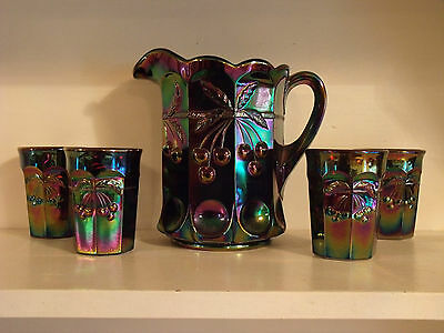 Brand New Mosser Carnival Glass Pitcher Set In The Cherries Pattern  5Pc Set