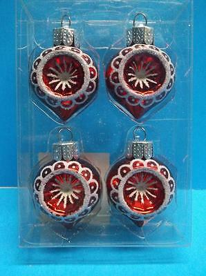 Miniature Glass Indent Reflector Christmas Ornaments Mica Onion Shape Set Of 4