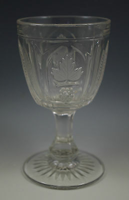 EAPG c.1850 EARLY FLINT GLASS MAGNET AND GRAPE FROSTED LEAF GOBLET