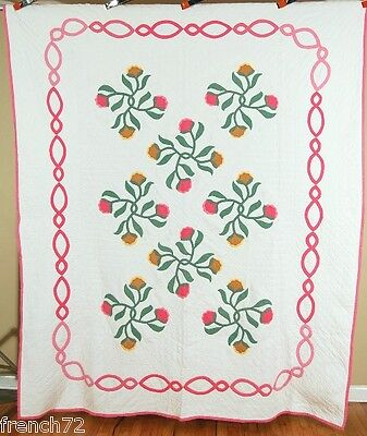 "BEAUTIFUL Vintage 40's Mountain Mist ""Old Fashioned Rose"" Applique Antique Quilt"
