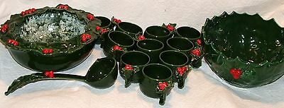 VTG RIDDELL 1958 Christmas Green Holly & Berry 2 Punch Bowls Ladle 10 Cups Set
