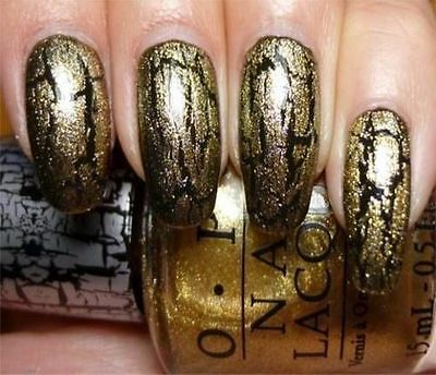 OPI Nail Polish Lacquer Enamel Varnish E60 Gold Shatter 15ml