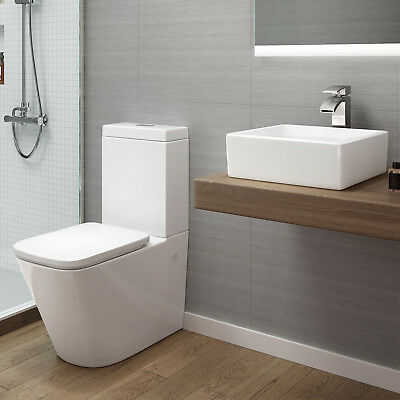 White Close Coupled Toilet Pan Cistern WC & Countertop Basin Bathroom CS640B