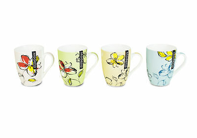 New Bone China Mugs Set of 4 Floral Garden Design Tea Coffee Home Office