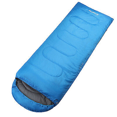 KingCamp Oasis 250 Camping Hiking Large Sleeping Bag 3 Season (190+30)x75cm Blue