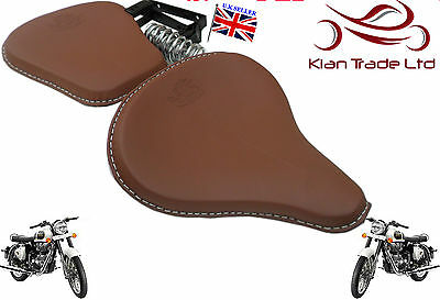BROWN LEATHER HARLEY STYLE SADDLE SEAT ROYAL ENFIELD Classic Truimph