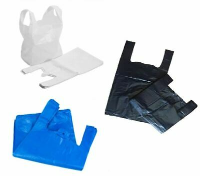 Strong Heavy Duty Plastic Vest Carrier Bags Supermarkets Shops 15 MU All Sizes