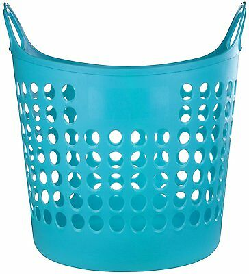 Flexible Plastic Laundry Washing Basket W/Handles Bin Clothes Storage- Turquoise
