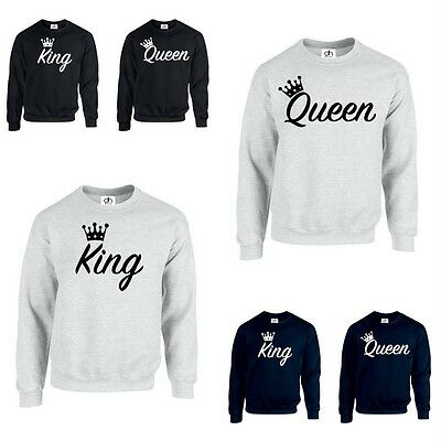 KING QUEEN CROWN JUMPER Funny valentines day Couples Matching gift (SWEATSHIRT)
