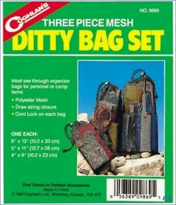 Coghlans 3 Pack Nylon Ditty Bag Set Camping Hiking Gear Organizer Bags FREE SHIP
