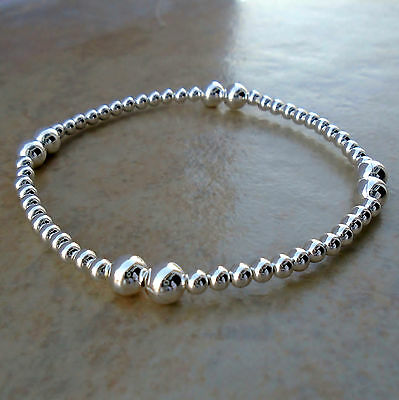"""Beaded Silver Ball 925 Sterling Silver Stretch Bracelet 7"""" Unisex Poly No St New"""