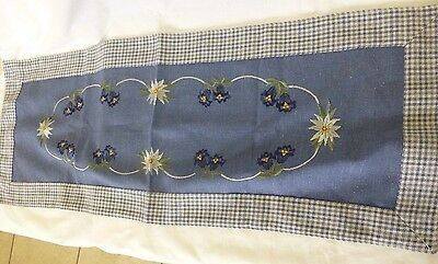 Linen Embroidered Runner Eidelweiss and Blue Fluted Flowers,Stems Leaves