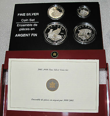 2005 Canada Lynx Fractional Set $5-$4-$3-$2 Dollars  1.85 Oz -.9999  Pure Silver