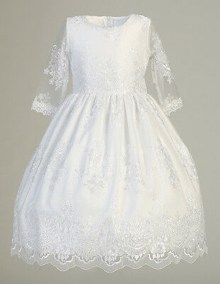 New Girls White Embroidered Tulle Dress First Communion Formal 3/4 Sleeves SP139