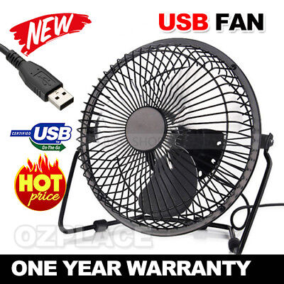 6inch USB Desk Fan Jumbo Cooler Cooling Metal Construction Super Mute For Laptop