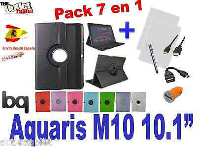 "Pack 7 en 1 FUNDA TABLET BQ AQUARIS M10 10"" GIRATORIA 360º CARCASA Gran calidad"