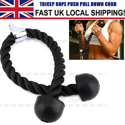 Black Push Pull Tricep Rope Pull Down Multi Gym Cable Attachment BodyBuilding UK