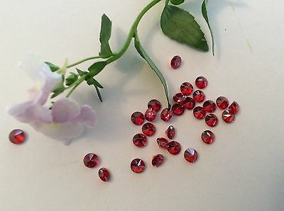 Cubic Zirconia round stones 4mm red x12 Vintage C'1980 CRAFT Post Free
