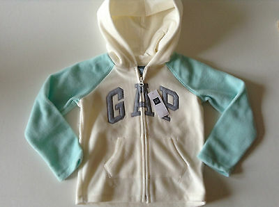 GAP LOGO Girl's FLEECE HOODIE/Top/Jacket - Zipped - IVORY FROST -3-5 years - NEW